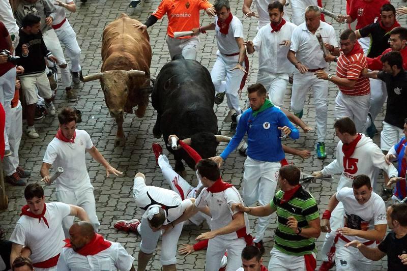 Cuarto encierro veloc�simo y limpio con los toros de Fuente Ymbro