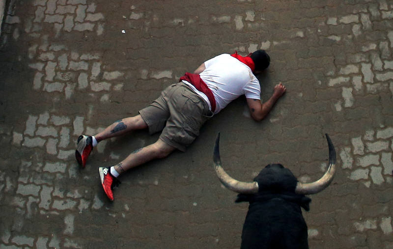 Cuarto encierro de San Fermín ordenado y vertiginoso con los peligrosos toros de Jandilla