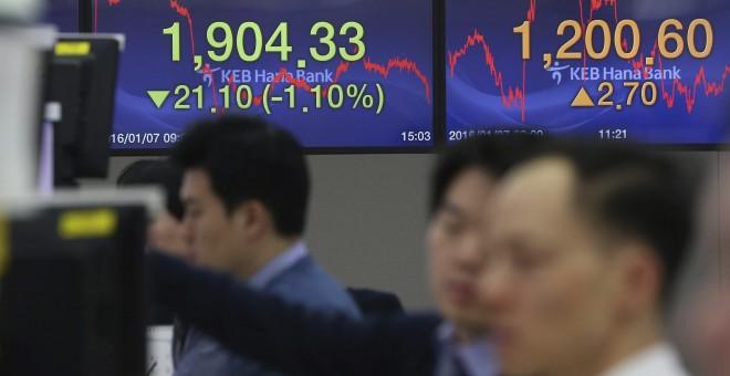 Temor en las bolsas tras el batacazo de la bolsa china, que ha vivido su jornada más corta de la historia