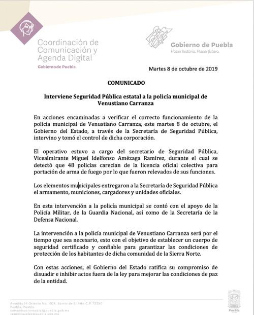 Interviene Seguridad Pública estatal a la policía municipal de Venustiano Carranza